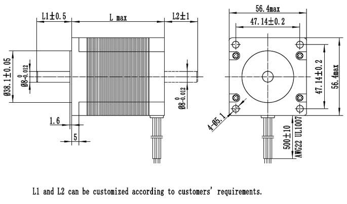 NEMA 23 bipolar stepper motor dimensions