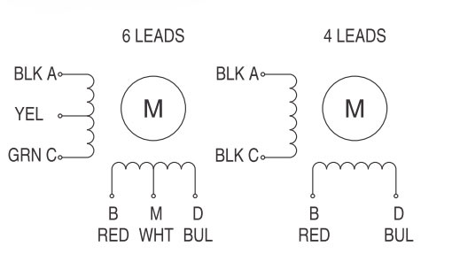 6-wire Nema 23 Stepper Motor, 2 phase, 2A, 1.8 degree | ATO.com on 12 lead delta motor connection diagram, nema 8 stepper,
