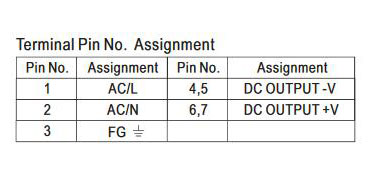 SMPS terminal pin number assignment