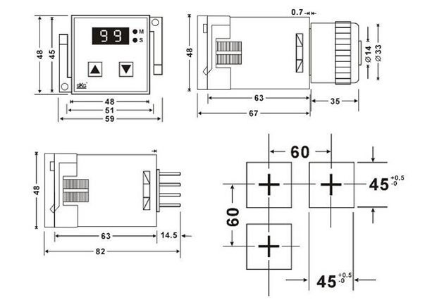 TH100 digital timer relay dimensions