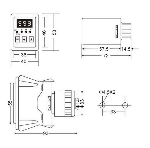 Digital Timer Relay, 8 Pin, 12V/24V/220V