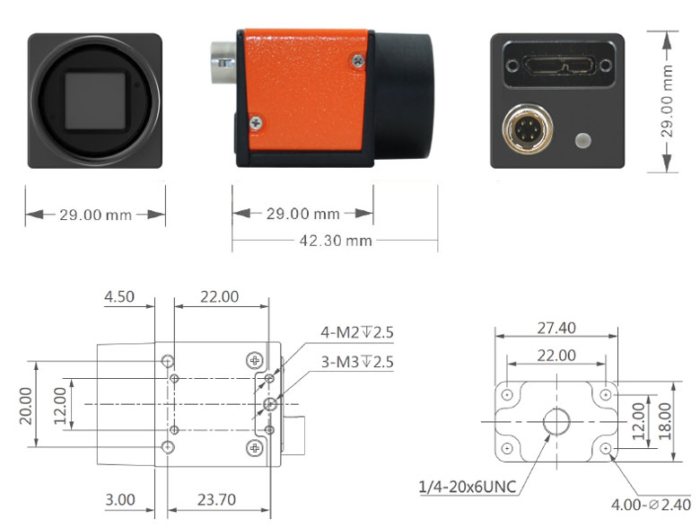 USB 3.0 Industrial Camera Dimensions