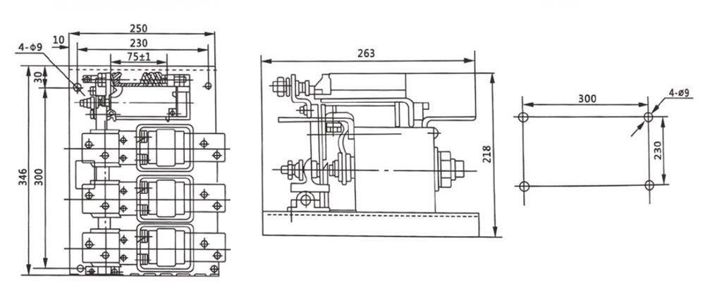 ATO 630A ac vacuum contactor outline and installation dimension