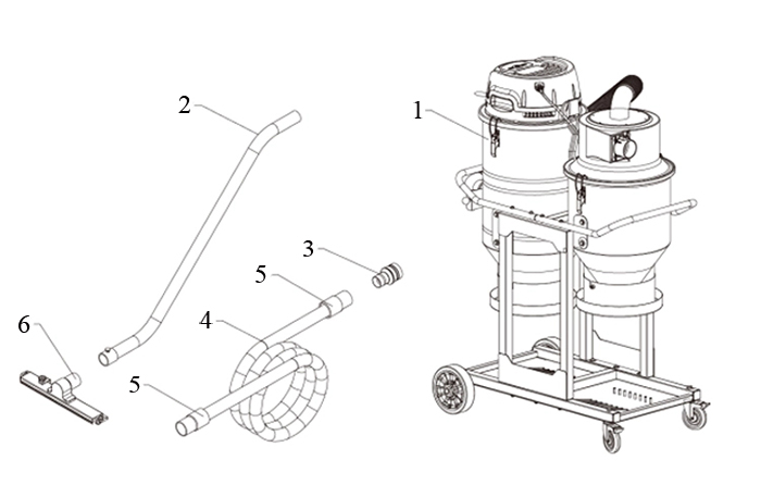 Accessories Diagram of Double Dust Canister Industrial Vacuum Cleaner