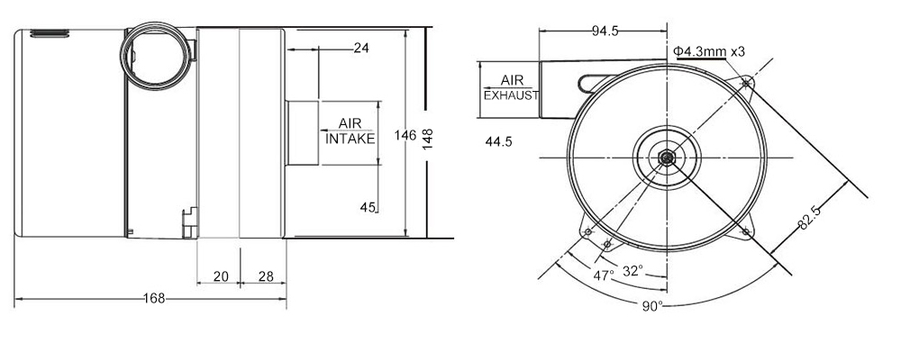 Air blower 82 CFM dimensions