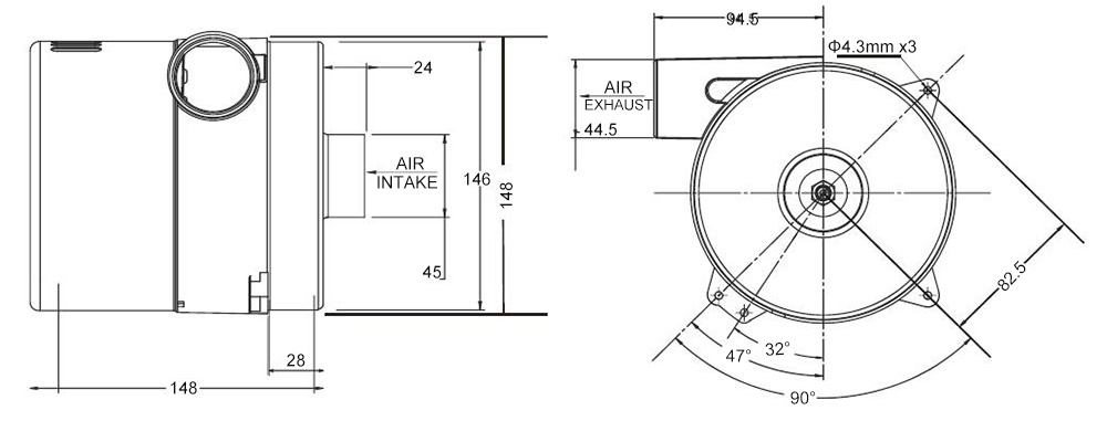 Air blower 90 CFM dimensions