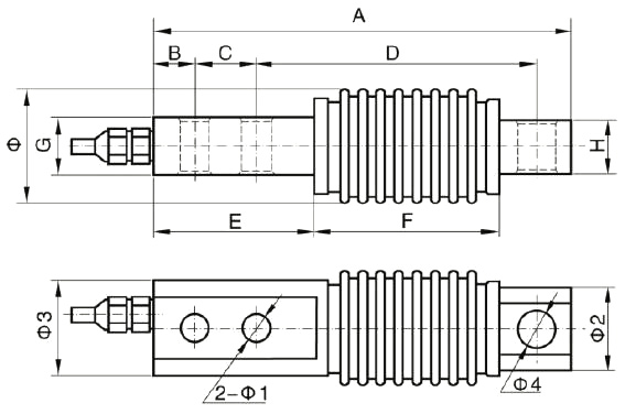 Beam load cell 10kg to 1000kg dimesional drawing