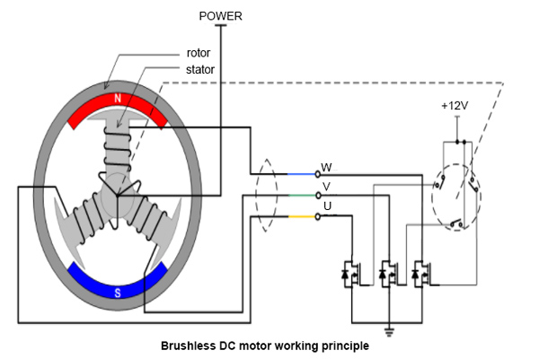how does a 3 phase brushless dc motor work