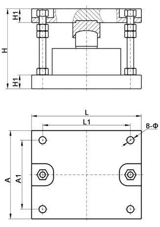 Compression load cell module dimension