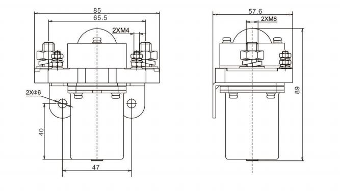 200A DC Contactor, single pole, 12V/24V/48V