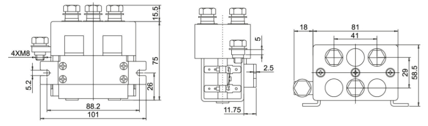 dc reversing contactor 125a dimension