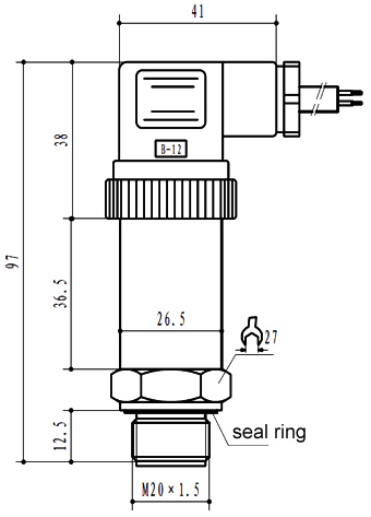 Diaphragm pressure sensor dimensional drawing