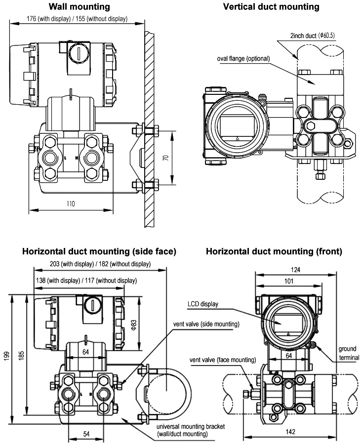 Differential pressure transducer mounting diagram