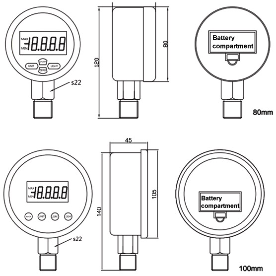Digital pressure gauge dimensional drawing