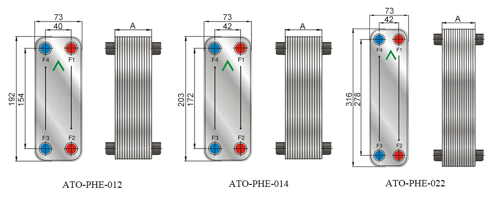 Dimension Diagram of 50/60 Plate Brazed Plate Heat Exchanger
