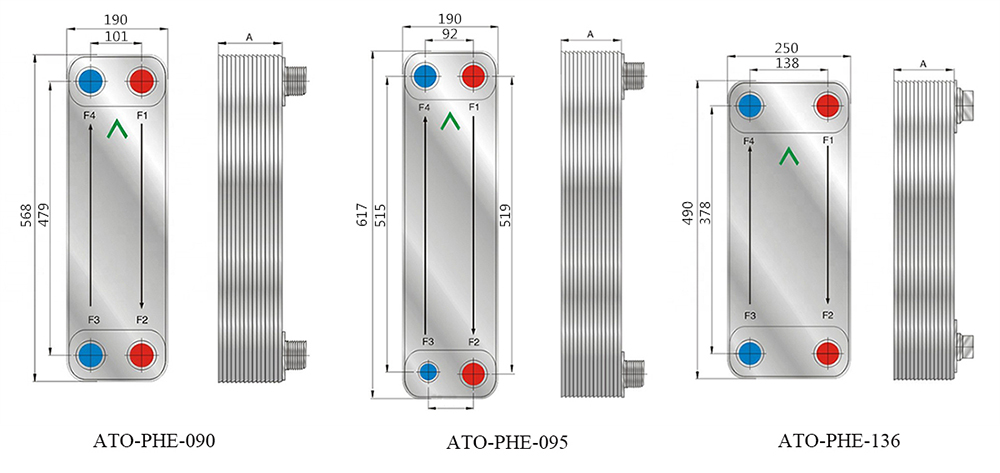 Dimension Drawing of Counter Flow Brazed Plate Heat Exchanger, Model 090/095/136
