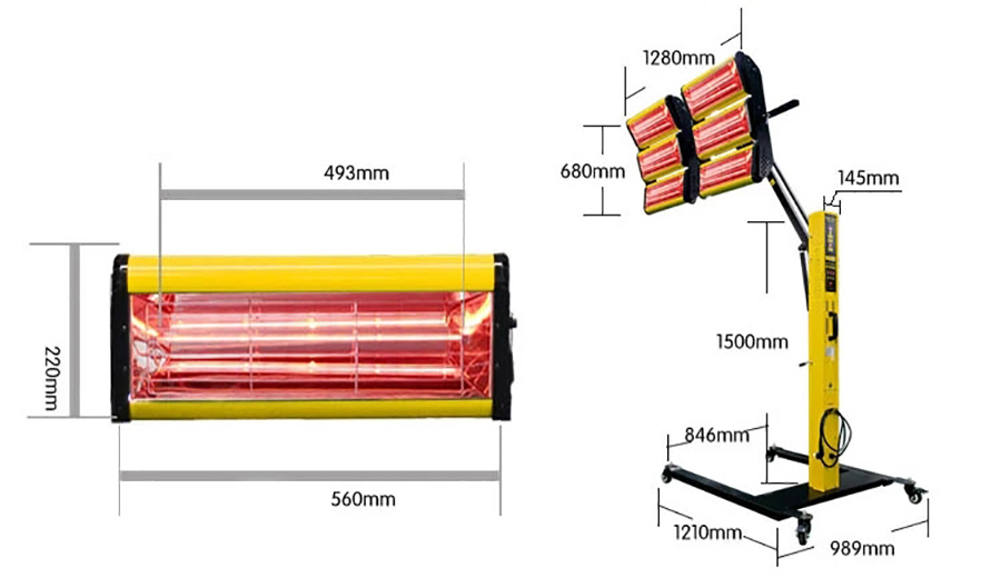 Dimension Drawing of Infrared Paint Curing Lamp, 6-Lamp