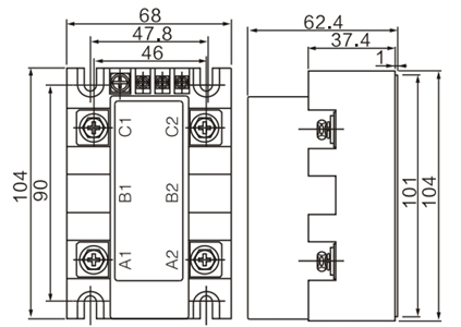 Dimension Drawing of Voltage Regulator Module Stabilivolt Type