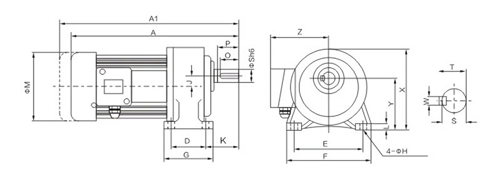 Dimensions of 3-Phase AC Gear Motor, Horizontal, Ratio 3~100