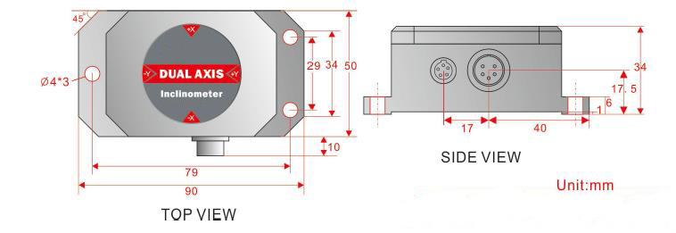 Dimensions of high precision inclinometer sensor 4-20ma 10°-90°