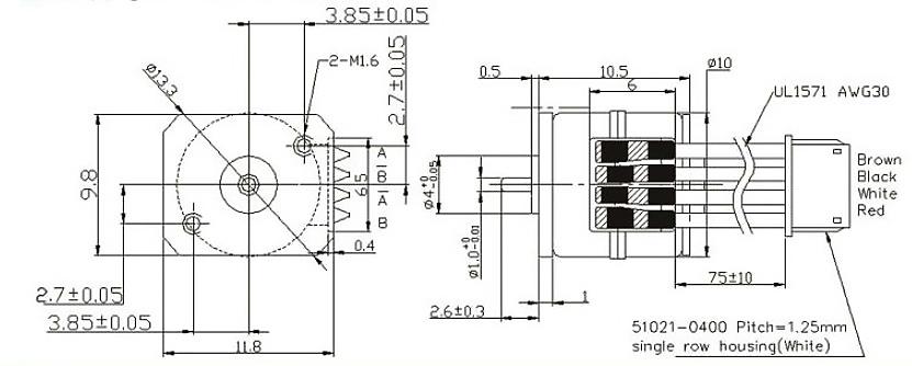 Dimensions of Nema 4 Micro Geared Stepper Motor, 5V, 0.128A, 2 Phase