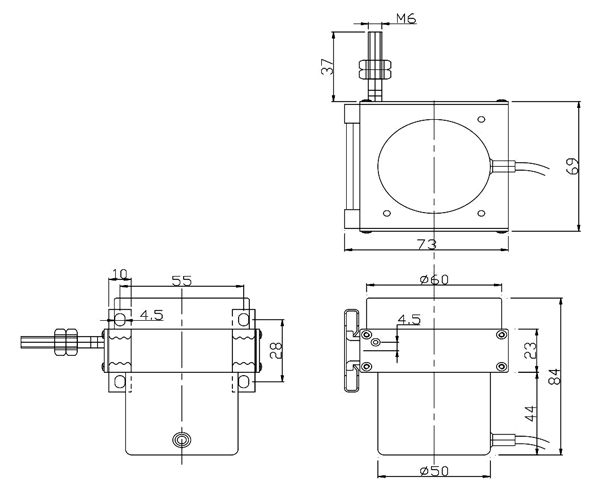 draw wire sensor 2500mm imensional drawing.