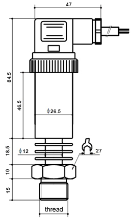 High temperature pressure sensor dimensional drawing