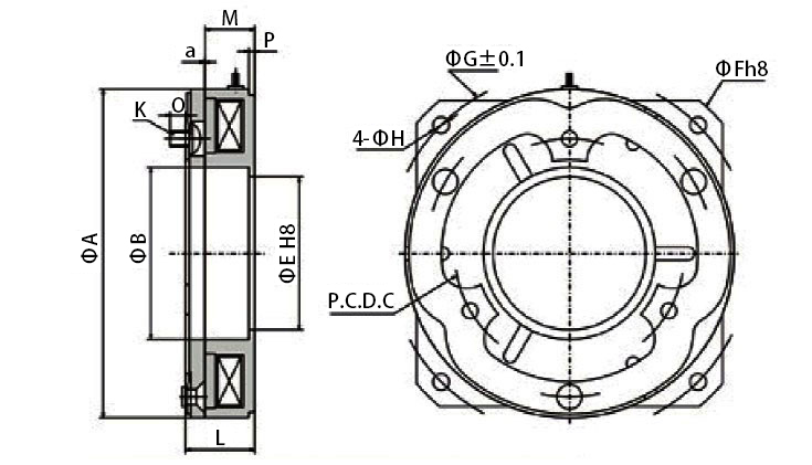 High torque electromagnetic brake dimension