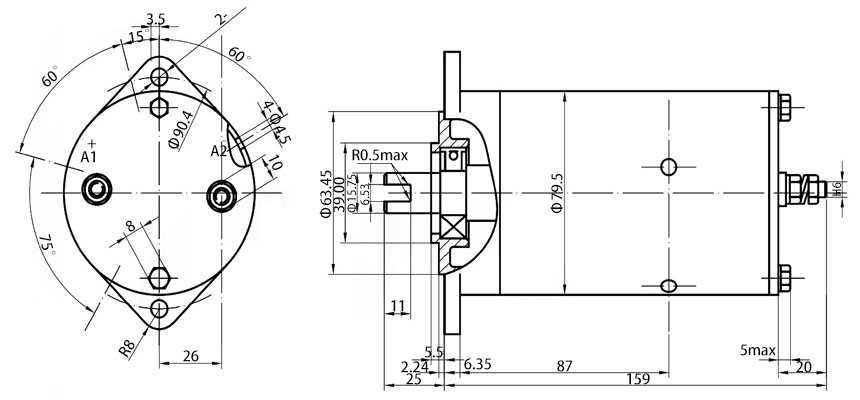 Hydraulic pump motor dimension