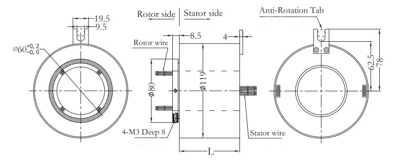 60mm ID/119mm OD Through Bore Slip Ring Dimension Drawing