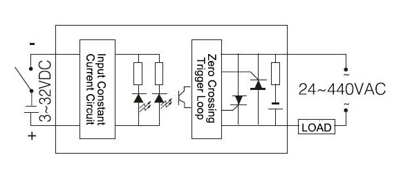 industrial Solid State Relay SSR-120DA Wiring Diagram