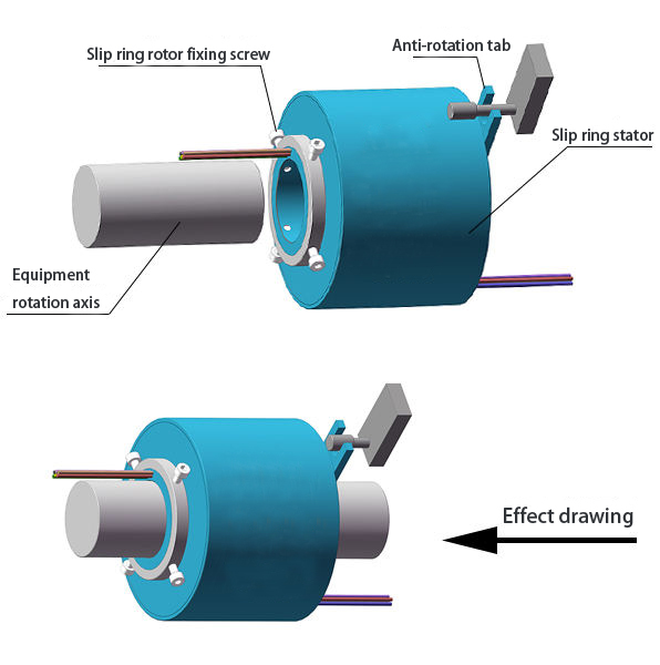 Through Bore Slip Ring with Anti-Rotation Tab Installation Diagram