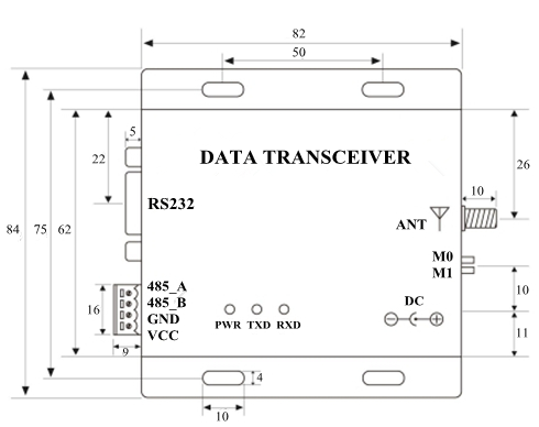 Dimension Drawing of Data Transmission Unit Model 433C30/433C33