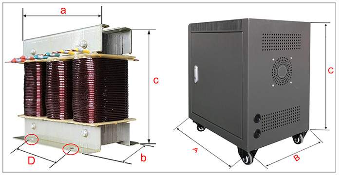 ATO isolation transformer installation dimension