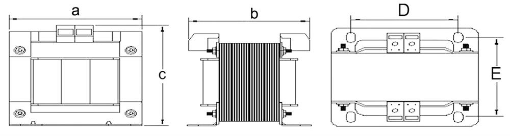 Single phase isolation transformer open type size