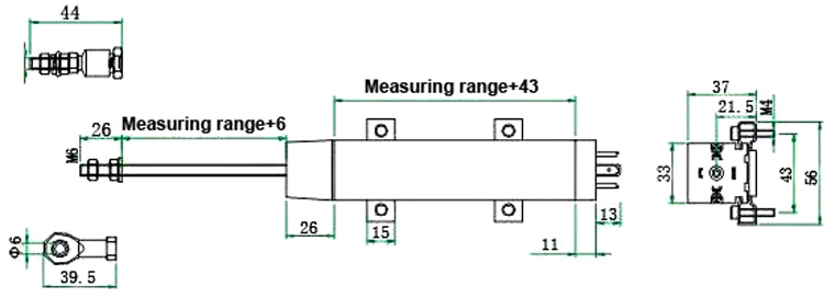 linear displacement sensor 50 1250mm dimensional drawing