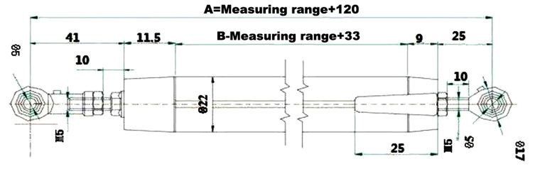linear position sensor 10-300mm dimensional drawing