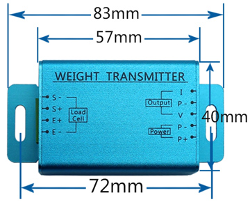 Load cell transmitter dimensional drawing