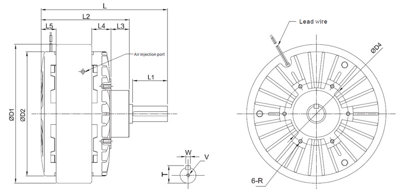 Magnetic particle brake dimension