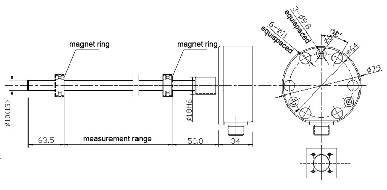 magnetostrictive sensor WA series aviation plug connection