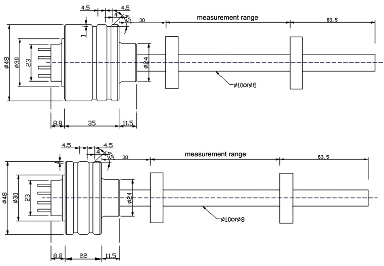 magnetostrictive sensor WB series dimension diagram