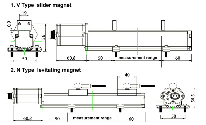 magnetostrictive sensor rail type dimensional drawing-a