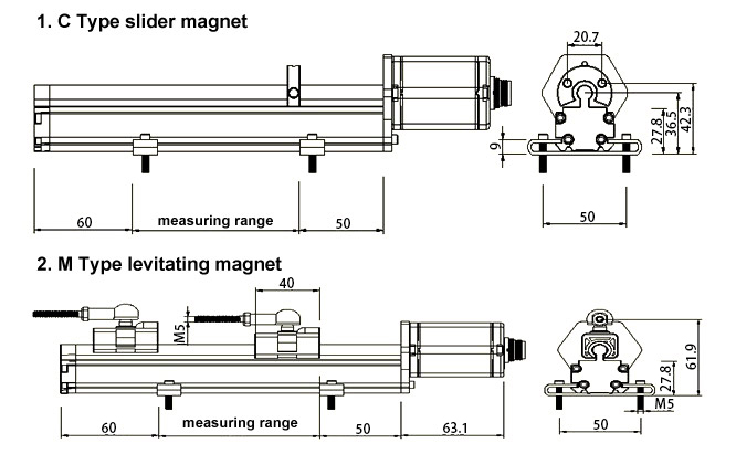 magnetostrictive displacement measurement sensor 500mm