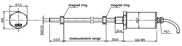 magnetostrictive sensor with PG7 connection