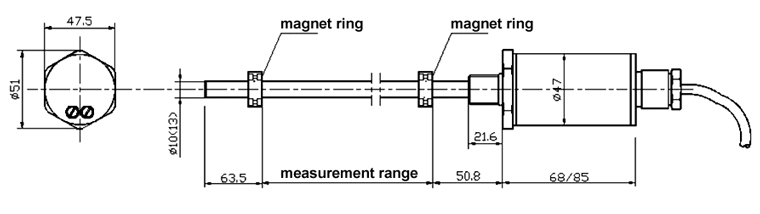 magnetostrictive sensor with explosion-proof connection
