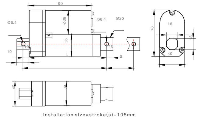 Mini Linear Actuator, 12V/24V, 850N, 150mm Stroke