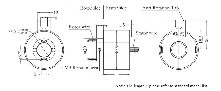 ATO-THSR-H1235 Through Hole Slip Ring Dimension Drawing