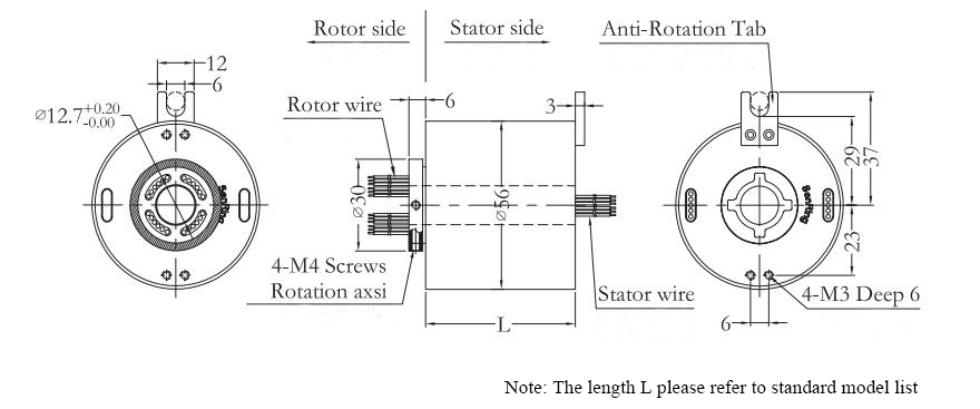 ATO-THSR-H1256 Through Hole Slip Ring Dimension Drawing