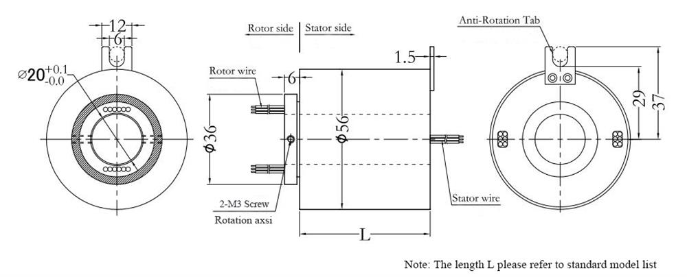 ATO-THSR-H2056 Through Hole Slip Ring Dimension Drawing