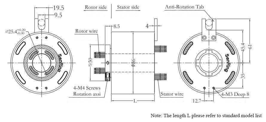 ATO-THSR-H2586 Through Bore Slip Ring Dimension Drawing